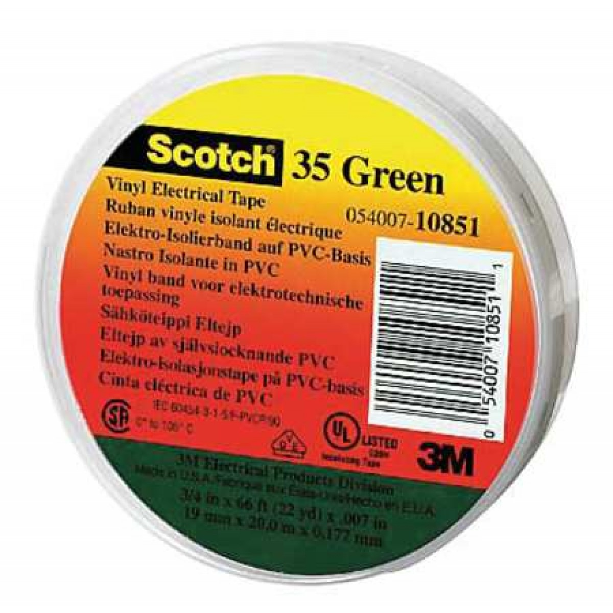 3M10851 - 3M 35 ELECTRICAL TAPE GREEN - Amarillo Bolt