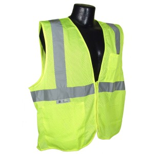C16002G/L - GREEN SAFETY VEST ZIPPER LARGE